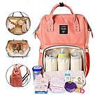 Сумка-рюкзак для мам в стиле LeQueen розовая, фото 8