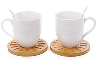 Набор белых чашек на 2 персоны, 2 чашки и 2 ложки и бамбуковые костеры