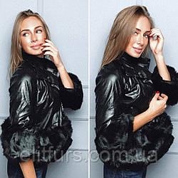 Куртка стильная из кож зама с искусственным мехом