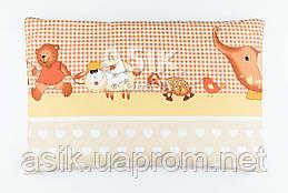 """Дитяча подушка 60*40 для новонароджених бежевого кольору """"Слоник і черепаха"""""""