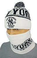 Светлый мужской набор шапка+шарф New Era NE 18 white
