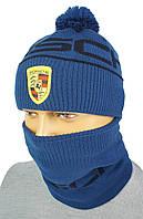 Стильный мужской комплект шапка+бафф з логотипом PORSCHE P 18 blue