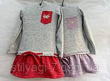 Плаття для дівчинки 2-5 років сірого кольору з червоним з кишенькою оптом