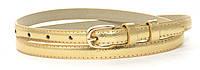 Женский тонкий ремешок с искусственной кожи высокого качества 1,5 см (103354) золотистый