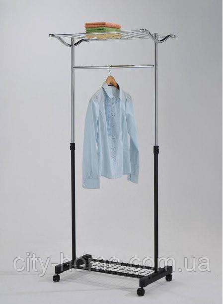 Стойка для одежды одинарная с полкой