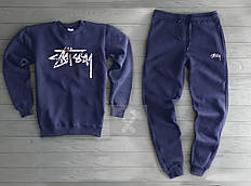 Утепленный спортивный костюм мужской Стаси Stussy темно синий (РЕПЛИКА)