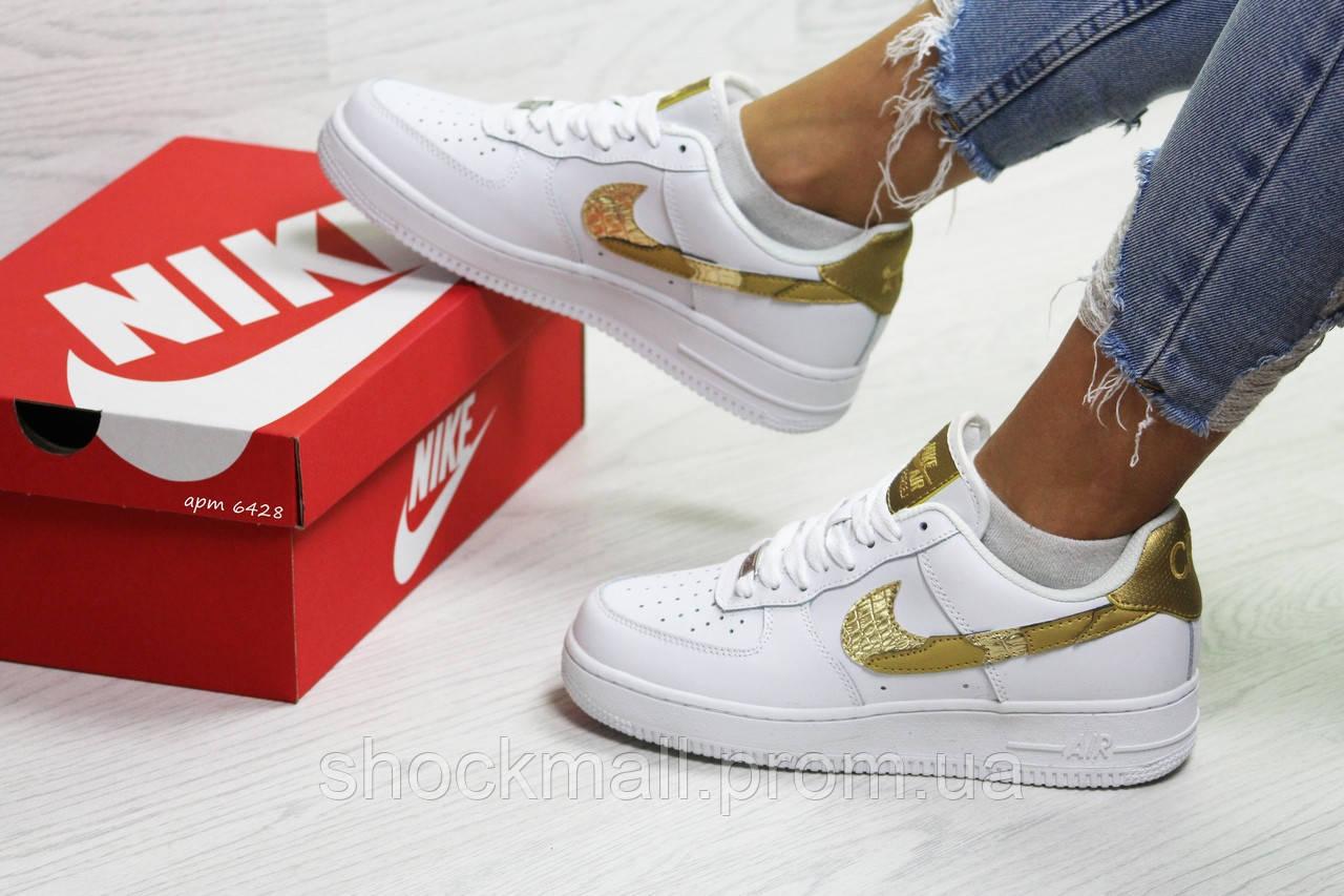 3a84b7d1 Nike Air Force 1 CR7 кроссовки женские белые с золотом Вьетнам реплика -  Интернет магазин ShockMall