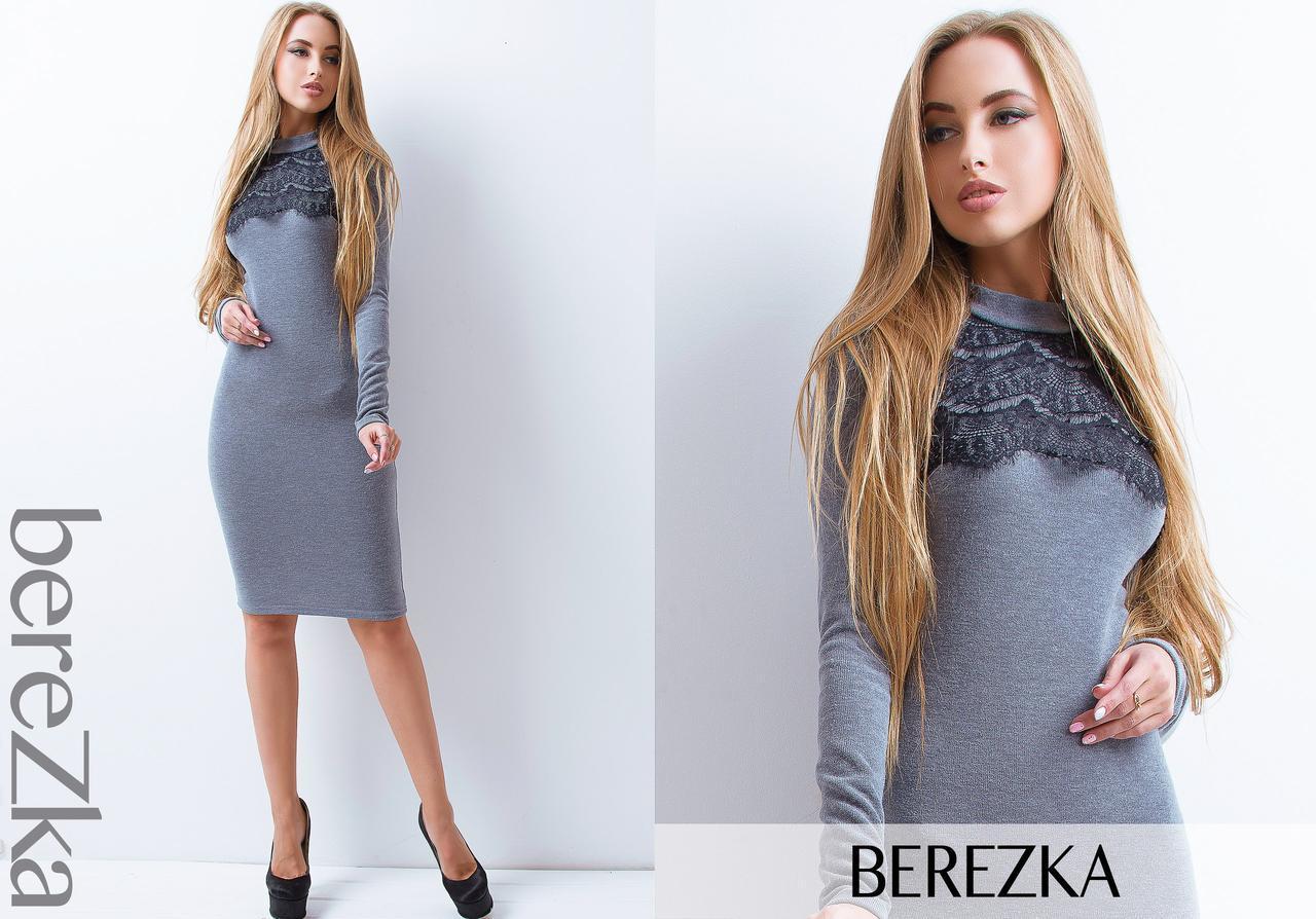 Женское трикотажное платье гольф с кружевом (разные цвета)   продажа ... 5911c5646d9