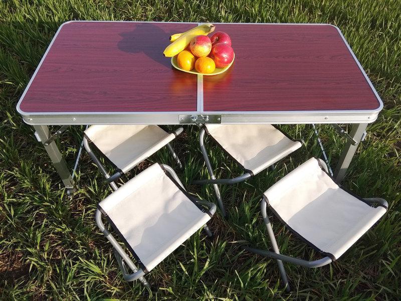 Стол для пикникаУСИЛЕННЫЙ + 4 стула (Чемодан)- Коричневый