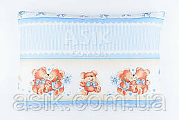 """Дитяча подушка 60*40 для новонароджених блакитного кольору """"Поцілунки""""."""