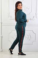 Женский спортивный костюм под Гуччи Gucci ткань турецкая двухнитка до 56 размера зеленый, фото 1