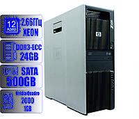 Рабочая станция HP Z600/12-ядер по 2,66GHz/24Gb-DDR3/HDD 500Gb/Quadro 2000