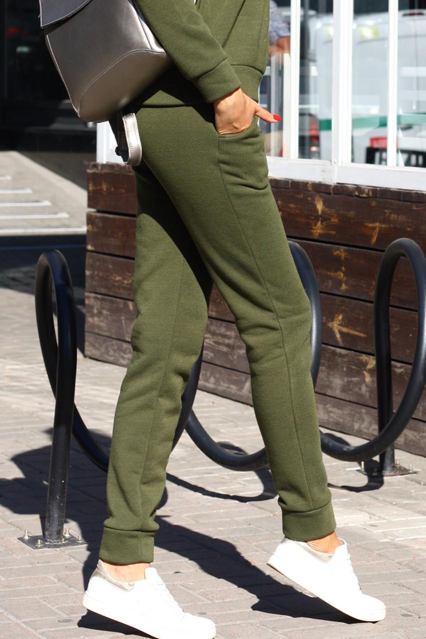 Теплые женские спортивные штаны трехнитка на флисе хаки, бордо, серый
