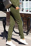 Теплые женские спортивные штаны трехнитка на флисе хаки, бордо, серый, фото 1