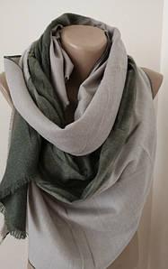Женский Кашемировый шарф-палантин.Серый зеленый.Переход цвета.Кашемир 180\70