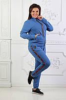 Женский спортивный костюм под Гуччи Gucci ткань турецкая двухнитка до 56 размера голубой, фото 1