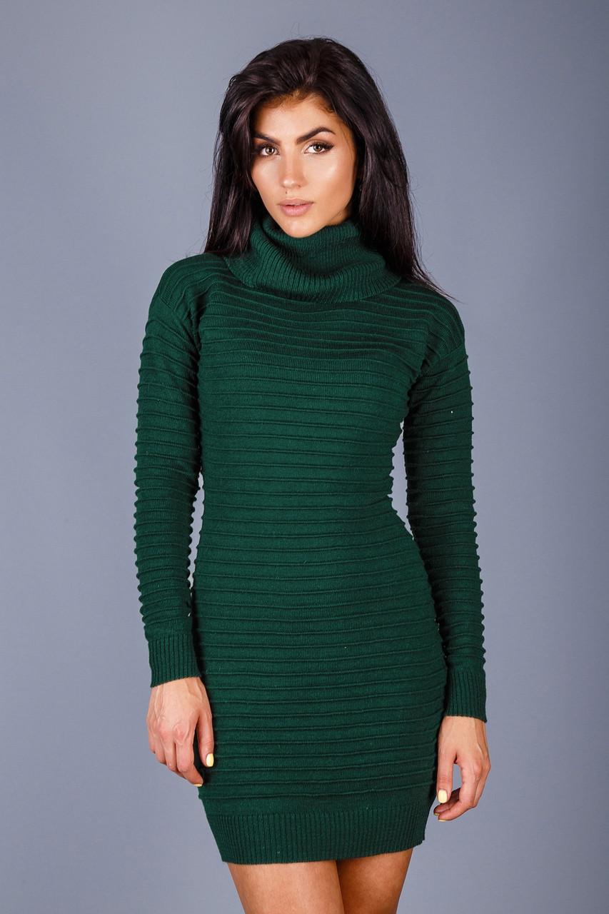 Вязаное платье с горлом с 44 по 48 размеры 4цвета
