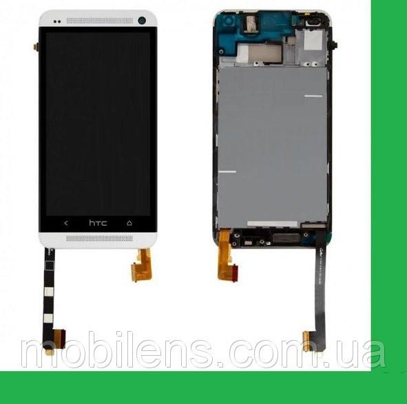 HTC One M7, 801e, 801n, PN07100, PN07110 Дисплей+тачскрин(сенсор) в рамке серебристый