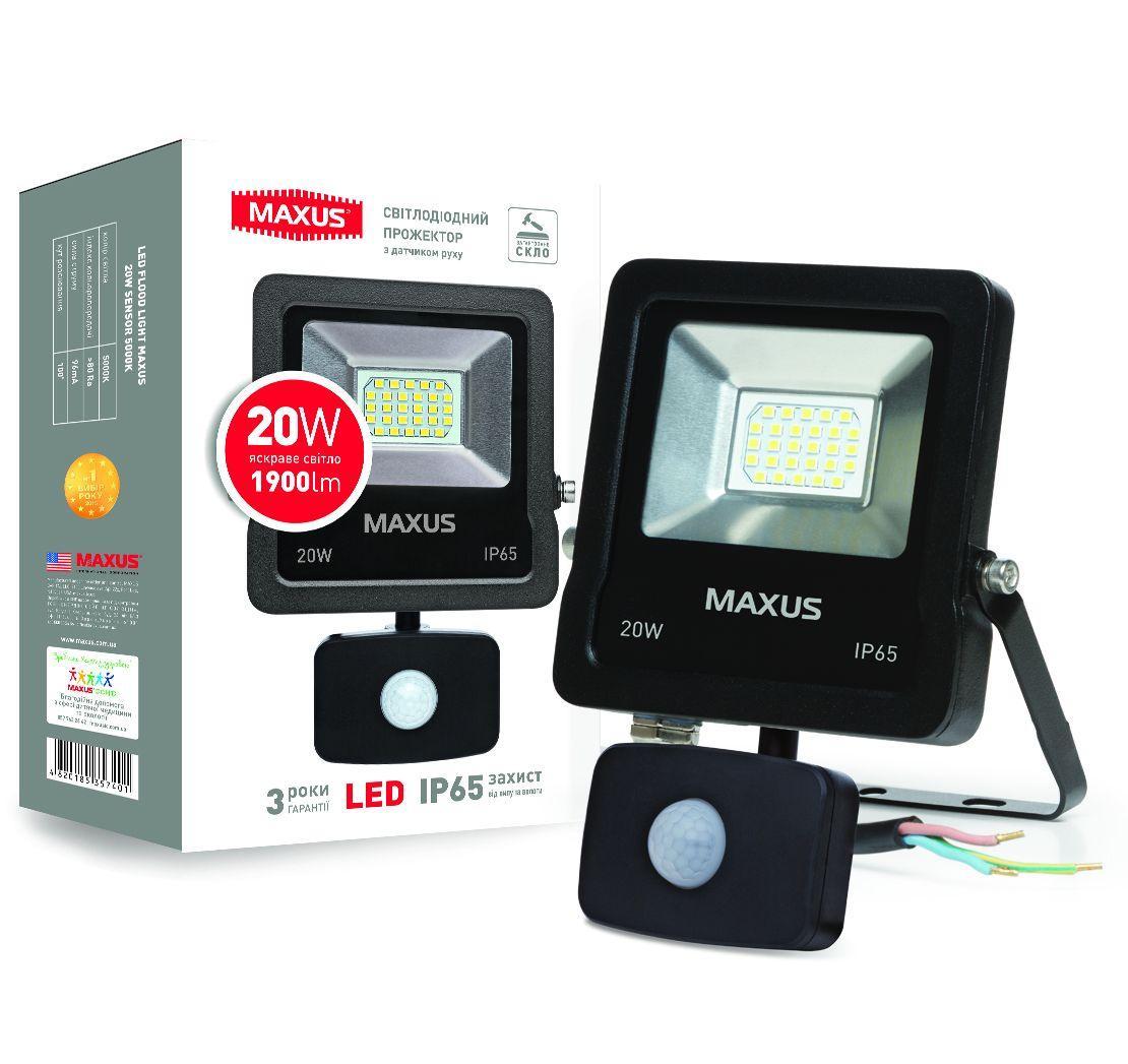 Светодиодный прожектор с датчиком движения MAXUS 1-MAX-01-LFL-2050S 20W 5000K