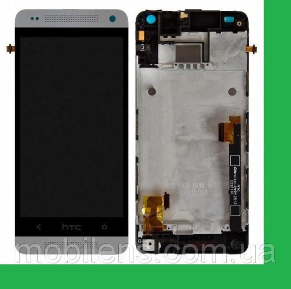HTC One mini, 601n, 601e, PO58200 Дисплей+тачскрин(сенсор) в рамке белый