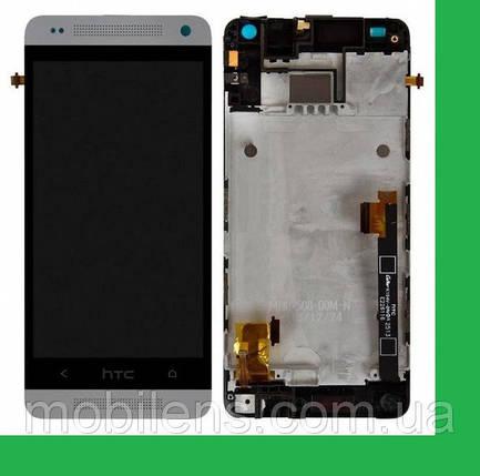 HTC One mini, 601n, 601e, PO58200 Дисплей+тачскрин(сенсор) в рамке белый, фото 2