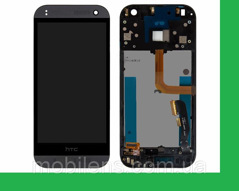 HTC One mini 2, One M8 mini Дисплей+тачскрин(сенсор) в рамке черный (темно-серый)