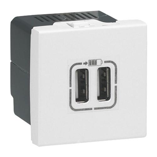Купить Розетка USB двойная для зарядки 2 модуля, Mosaic белый, Legrand