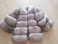 Полушубок из финского песца в цвете пудра, 65 см