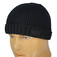 Однотонна в язана чоловіча шапка Ellan М  DANTES black в чорному кольорі 9b57e951cc35e
