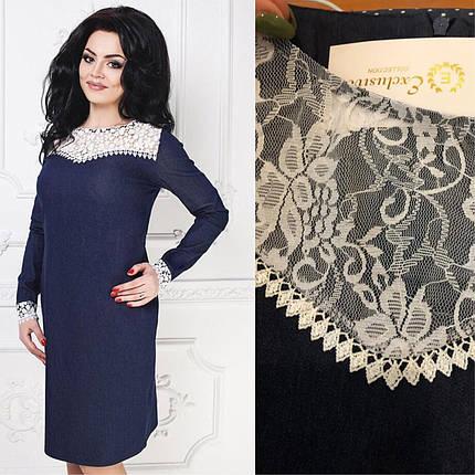 """Элегантное женское платье ткань """"Джинс стрейч-коттон"""" размер 50 размер батал, фото 2"""