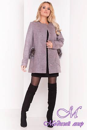 Короткое осеннее пальто с мехом на карманах (р. S, M, L) арт. Латте 5429 - 37430, фото 2