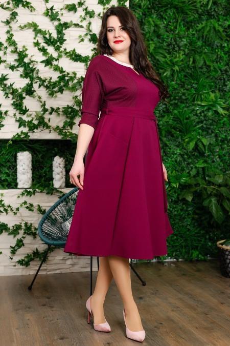 Стильное женское платье марсал из дорогой костюмной ткани  48, 50, 52 размер батал