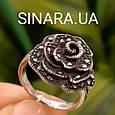 Кольцо Роза капельное серебро - Серебряное кольцо Роза с марказитами и чернением, фото 8