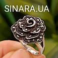 Кольцо Роза капельное серебро - Серебряное кольцо Роза с марказитами и чернением, фото 7