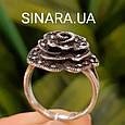 Кольцо Роза капельное серебро - Серебряное кольцо Роза с марказитами и чернением, фото 6