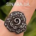 Кольцо Роза капельное серебро - Серебряное кольцо Роза с марказитами и чернением, фото 5