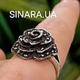 Кольцо Роза капельное серебро - Серебряное кольцо Роза с марказитами и чернением, фото 4