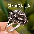 Кольцо Роза капельное серебро - Серебряное кольцо Роза с марказитами и чернением, фото 2