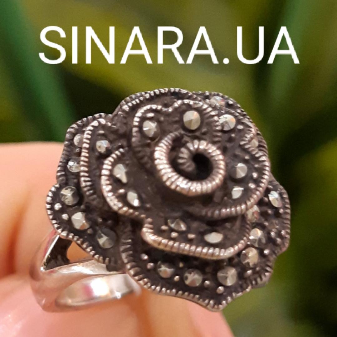 Кольцо Роза капельное серебро - Серебряное кольцо Роза с марказитами и чернением