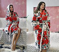 Теплый махровый халат с маками