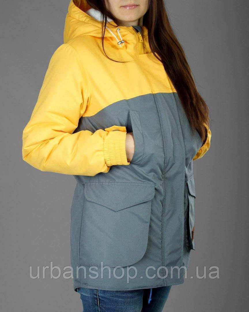 Жіноча зимова тепла парка Olymp - Grey and Yellow. ТОП ПРОДАЖІВ !!!