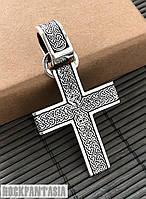Серебряный мужской крестик Покровитель