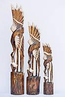 Статуэтка деревянная Журавль с рыбкой высота 80 см