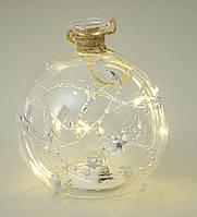 Ёлочный шар с подсветкой стекло 13х12 см.