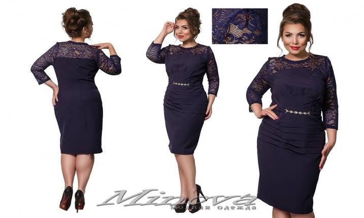 """Изысканное женское платье с имитацией пояска на талии ткань """"Костюмная"""" 50, 52, 54, 56 размер батал, фото 2"""