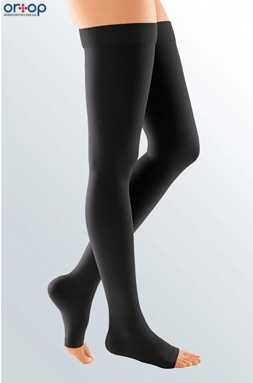 Чулки с силиконовой резинкой DUOMED (AG - 62 - 71 см) - I класс, открытый носок, черный, S