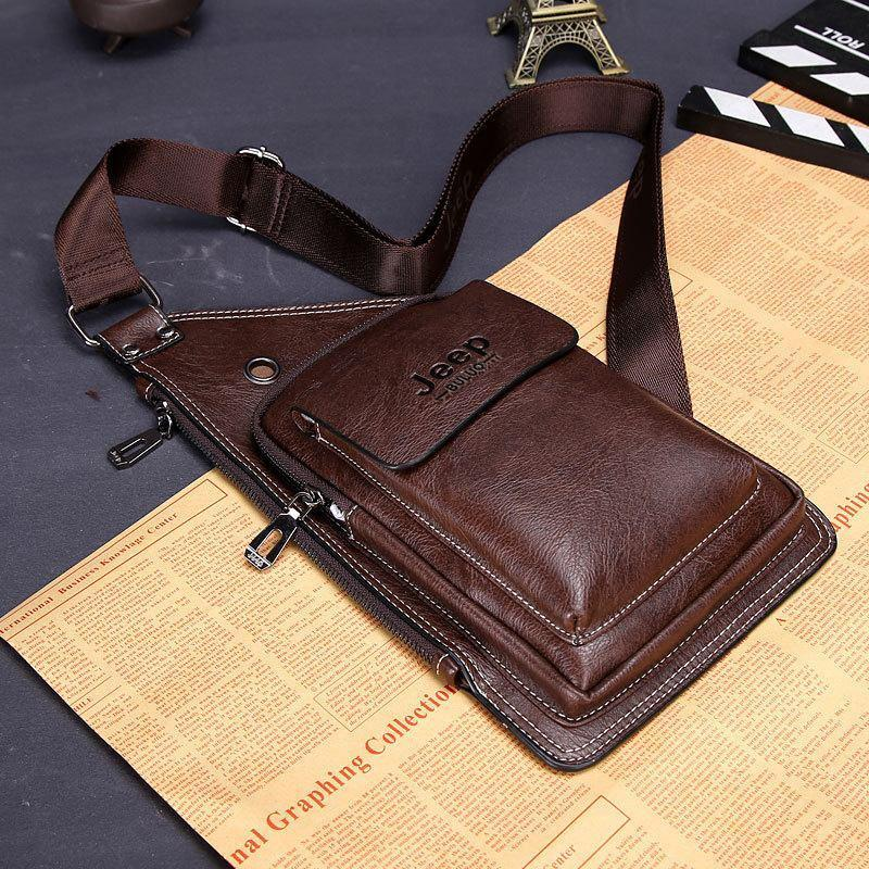 Сумка-рюкзак на одно плечо в стиле Jeep Buluo темно-коричневая