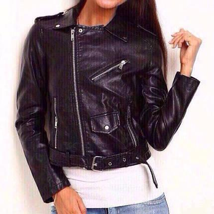 Женская куртка Чёрная (103)300-1 Размеры:s,m,l Ткань: эко-кожа.Цвет: черный, розовый., фото 2