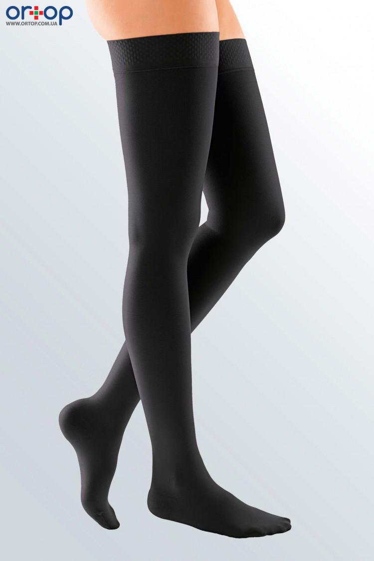 Чулки с силиконовой резинкой DUOMED (AG - 62 - 71 см) - II класс, закрытый носок, черный, S