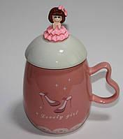 Кружка керамическая с крышкой и ложкой Принцесса (360 мл), фото 1